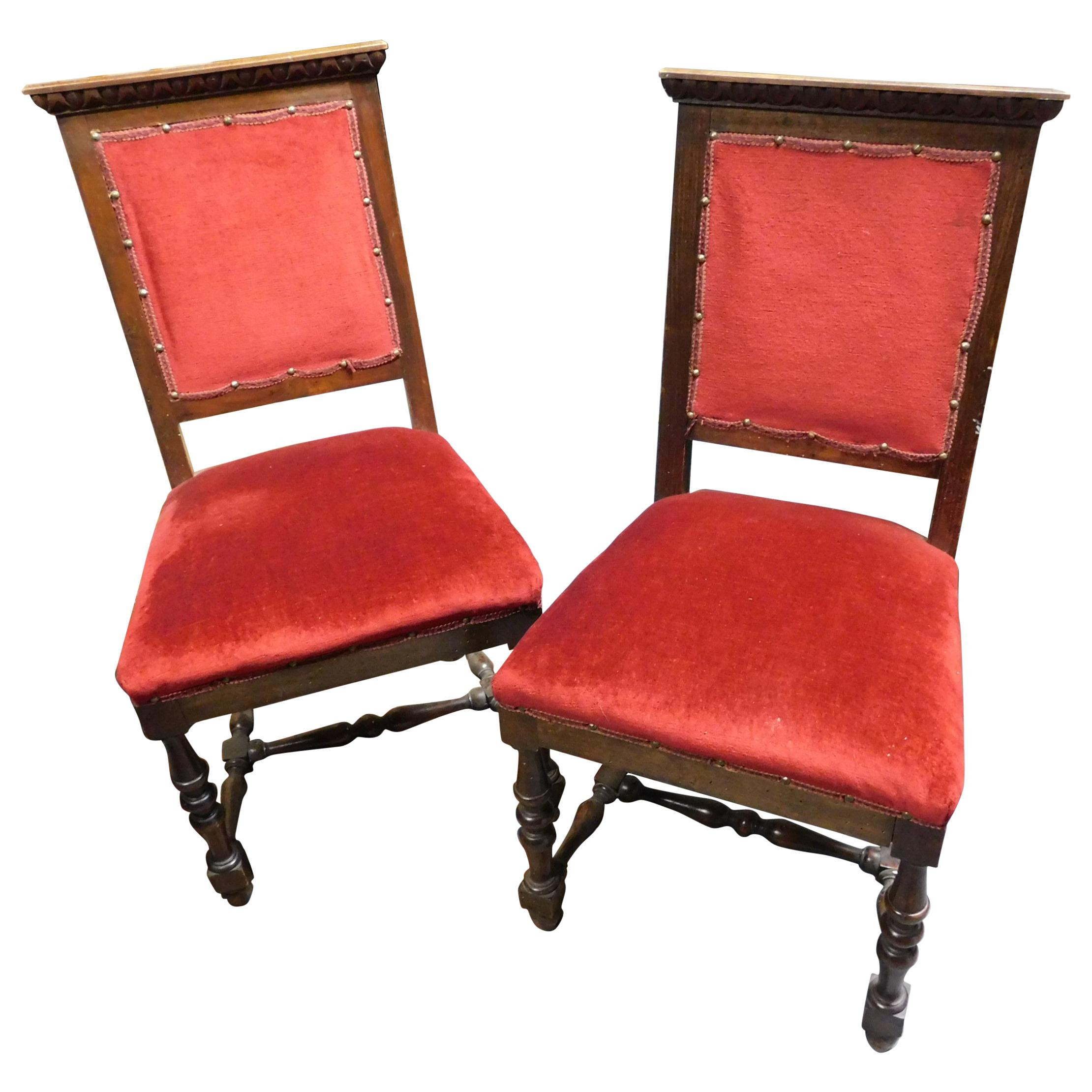 19th Century Pair of Chairs, Armchairs, Red Velvet, Wood with Frames, Italy
