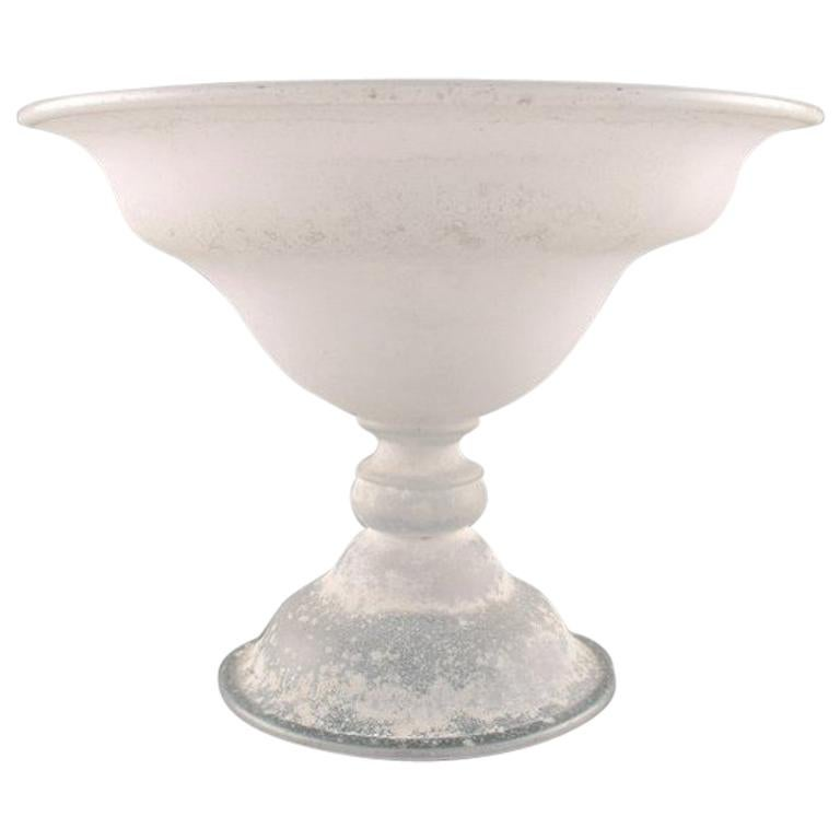 Large Murano Bowl on Foot or Compote in Mouth Blown Art Glass, 1960s For Sale
