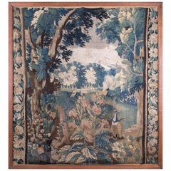 18th Century Framed Fragment of French Aubusson Tapestry with Natural Scenery