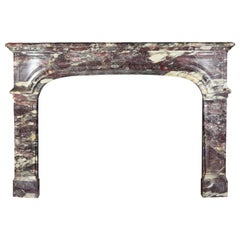 Chique French Royal Brêche Violet Marble Antique Fireplace Surround