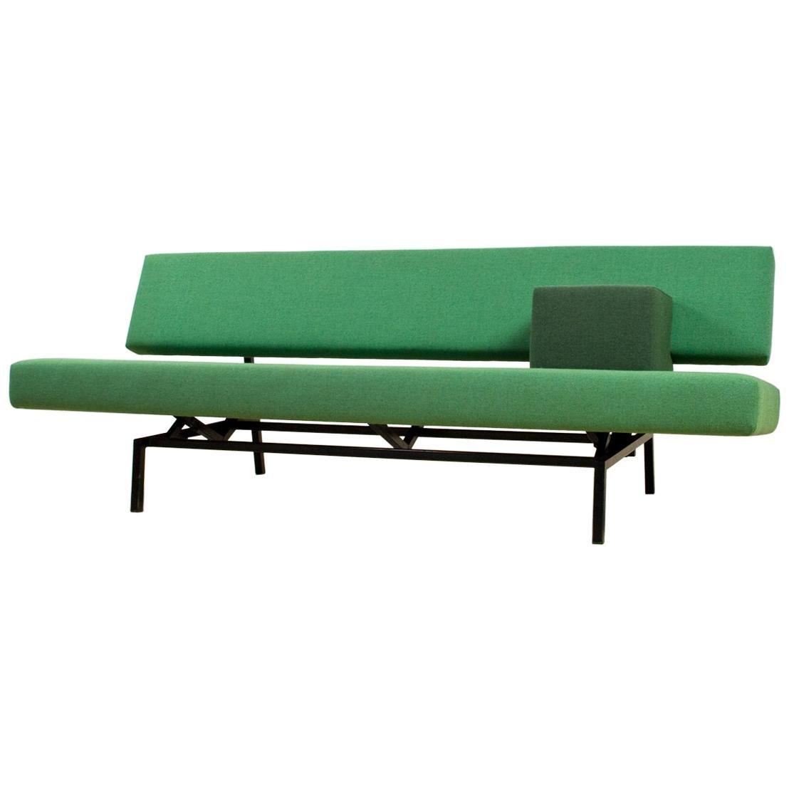 Mid Century Modern Sofa Daybed In Forest Green By Martin Visser, Spectrum,  1960s