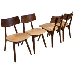 Midcentury Dining Room Chair in Teak and Leather Louis Van Teeffelen, Set of 4