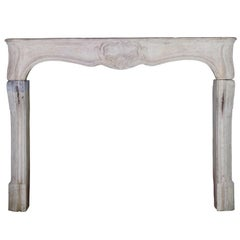 18th Century LXV Classic French Country Antique Limestone Fireplace Mantle