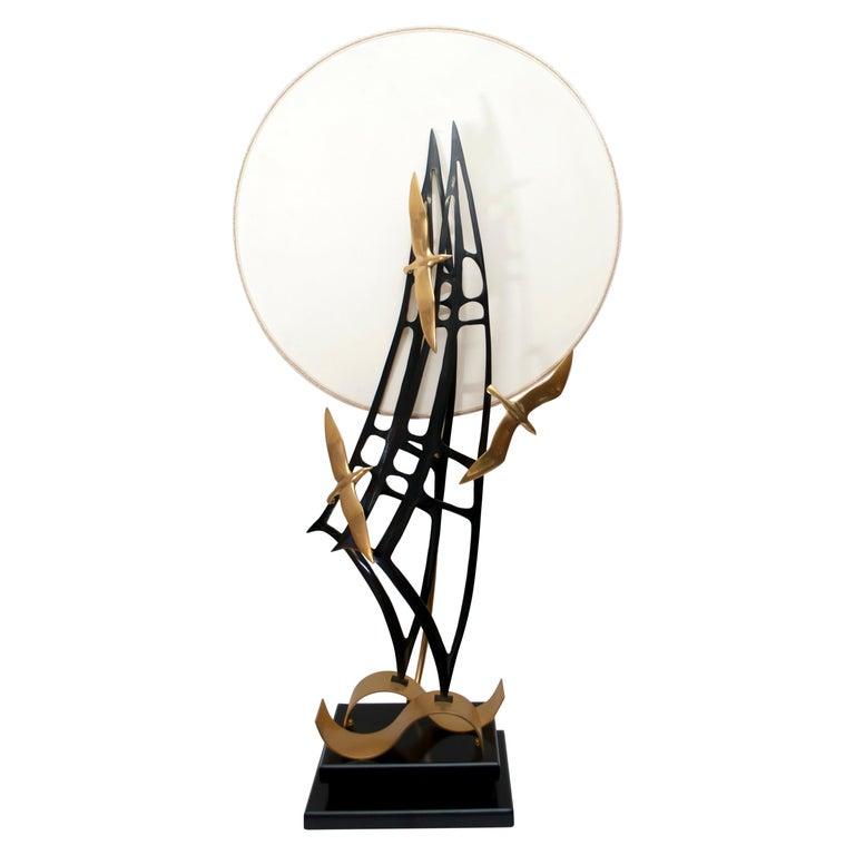 Lanciotto Galeotti Midcentury Gold-Plated Lamp Italian by L'Originale, 1970s