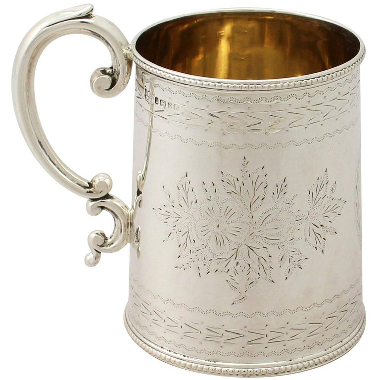 Antique Victorian English Sterling Silver Christening Mug For Sale