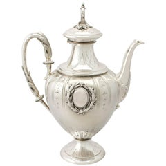 Antique 1900s German Silver Coffee Pot