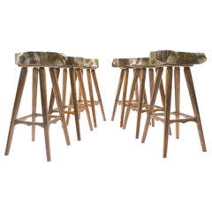 Six Mid-Century French Wooden Bar Stools, Pierre Chapo Attributed, 1960s