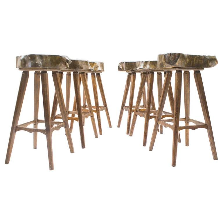 Superb Six Mid Century French Wooden Bar Stools Pierre Chapo Attributed 1960S Cjindustries Chair Design For Home Cjindustriesco