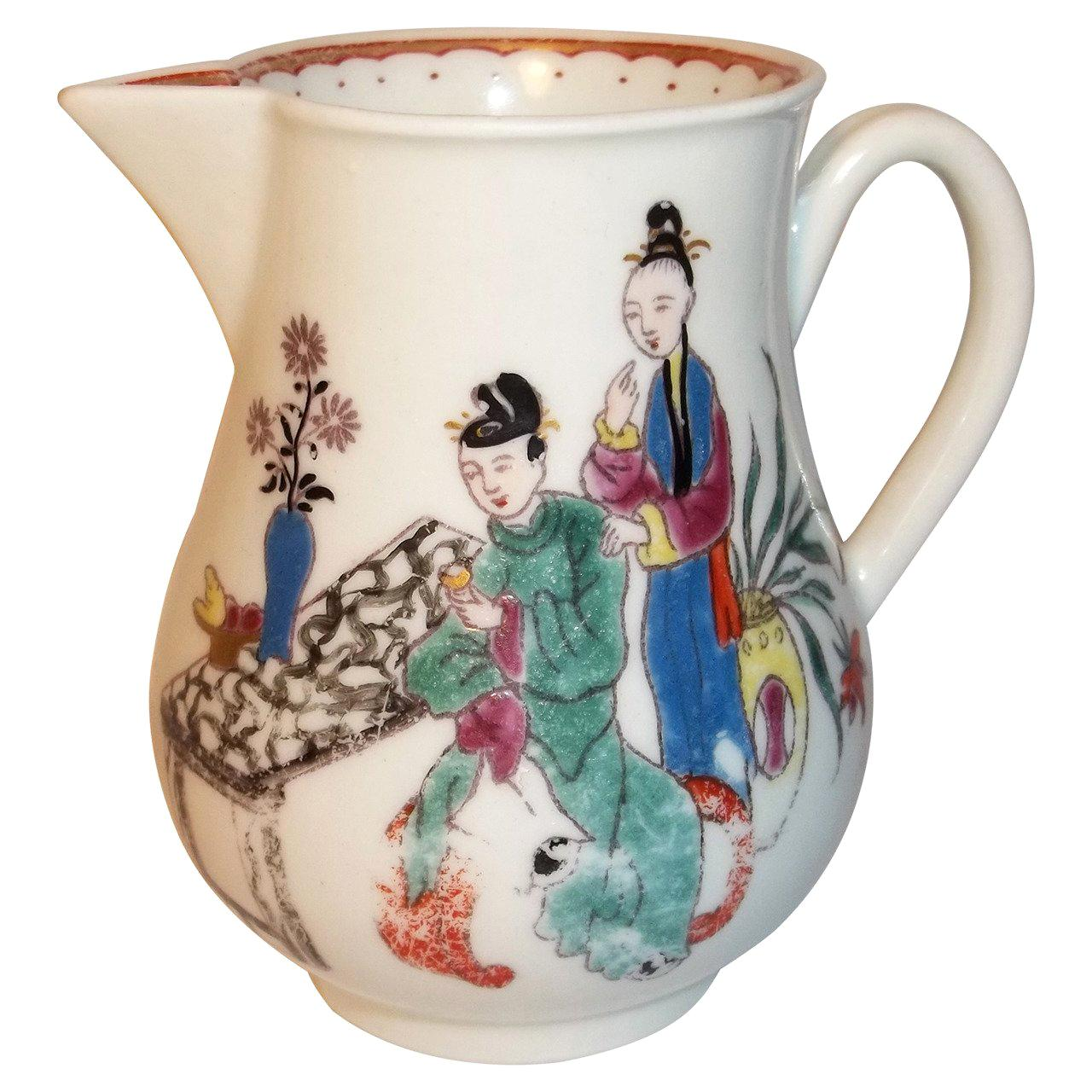 First Period Dr. Wall Worcester Milk Jug in Chinese Family Pattern, Circa 1770