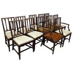 Set of 12 Scottish George III Mahogany Dining Chairs