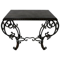 1940s French Painted and Gilded Wrought Iron Occasional Table