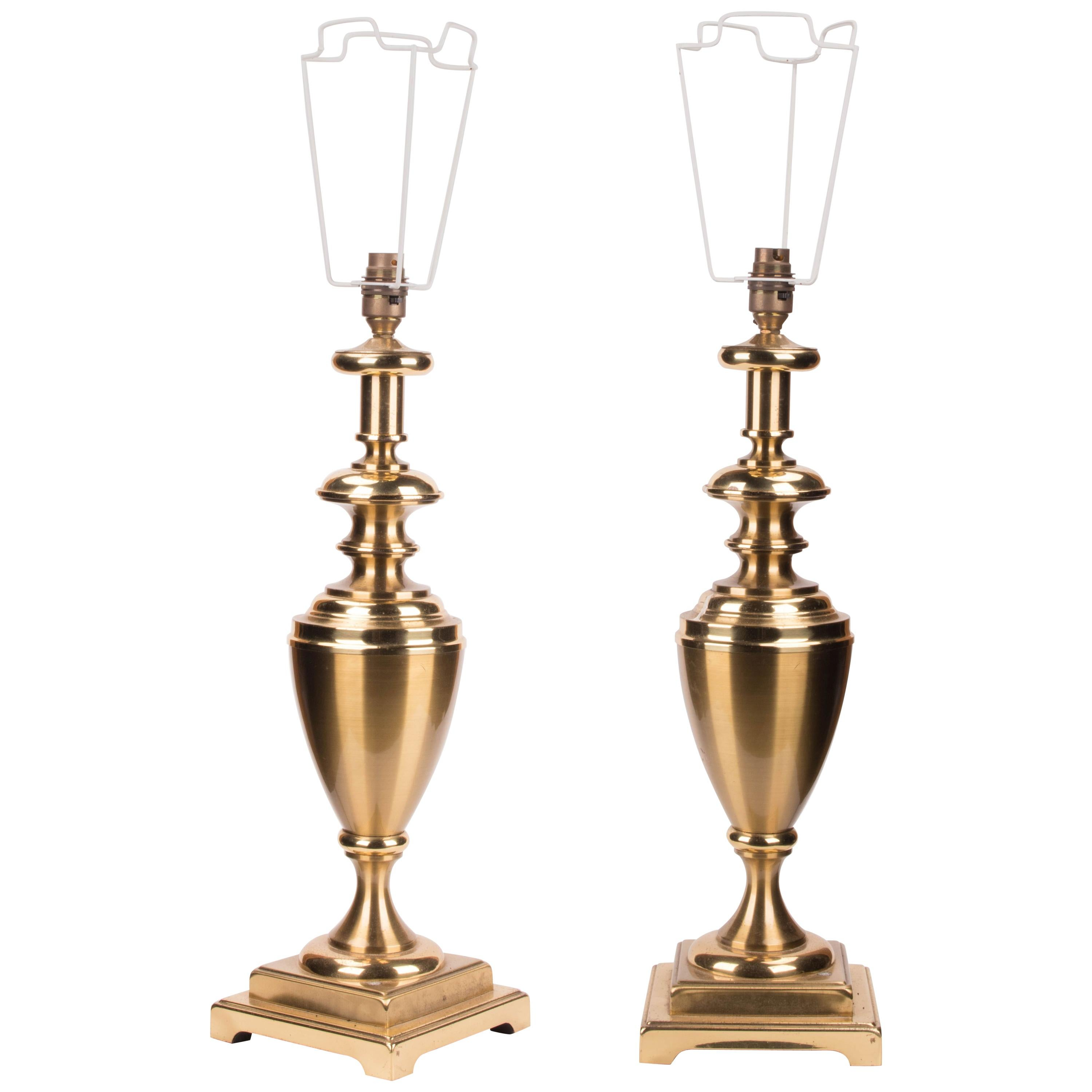 1970s Pair of French Golden Metal Table Lamps