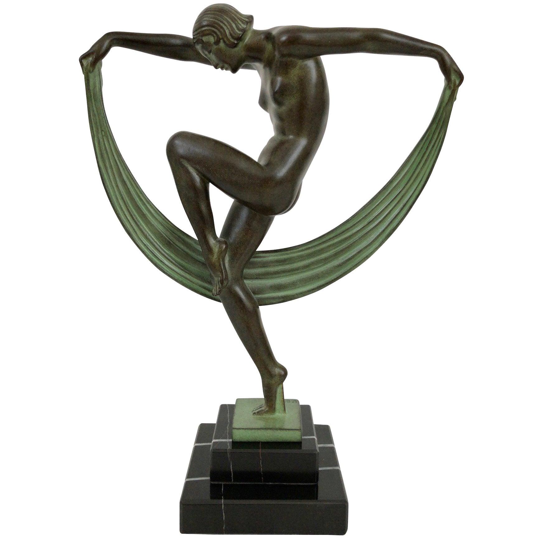 Dancer Sculpture in Spelter, Folie by Denis, Original Max Le Verrier
