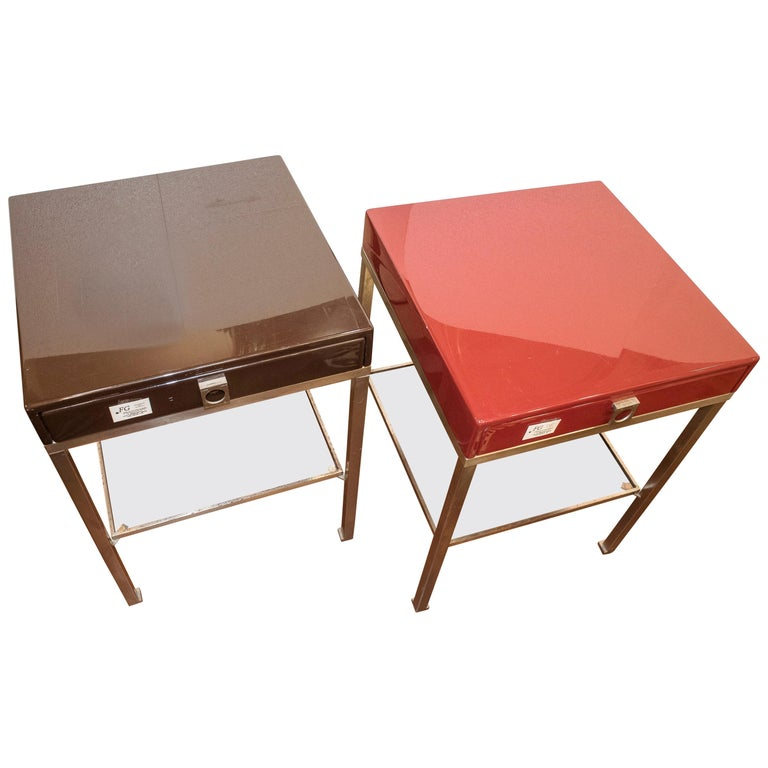 Maison Jansen 1970s Red and Brown Lacquered and Steel End Tables For Sale
