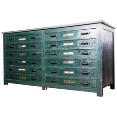 1940s English Industrial Cabinet, Chest of Drawers, Sideboard with Zinc Top
