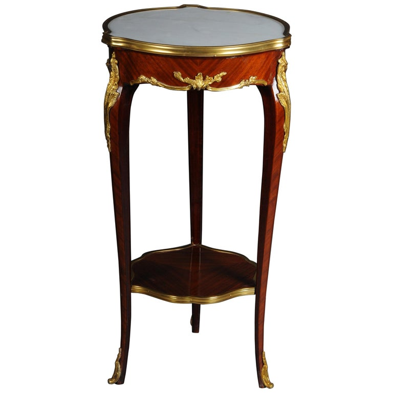 Classic Salon Side Table in Louis XV with Marble Top For Sale