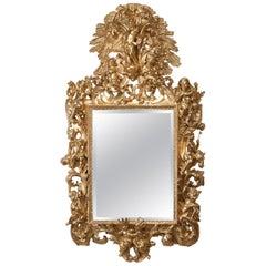 Fine and Decorative Italian Giltwood Mirror, circa 1860