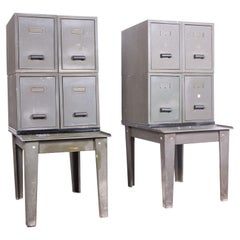 1940s Pair of Industrial Metal Side Storage Cabinets, Bedside Chests