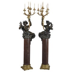 Pair of Bronze Figural Six-Light Candelabra with Marble Columns, circa 1850