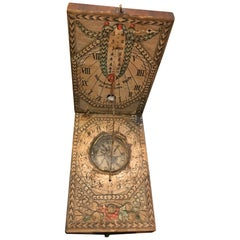 German Portable Wooden Sundial with Compass, circa 1830-1850