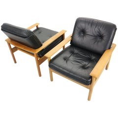 Set of 2 Mid-Century Modern Leather Lounge Chairs, Scandinavian Design 1960s