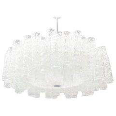 Extravagant German Ice Glass Ceiling Lamp by Doria Leuchten, 1960s