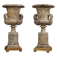 Pair of Neoclassical Style Carved Alabaster Vases, circa 1910