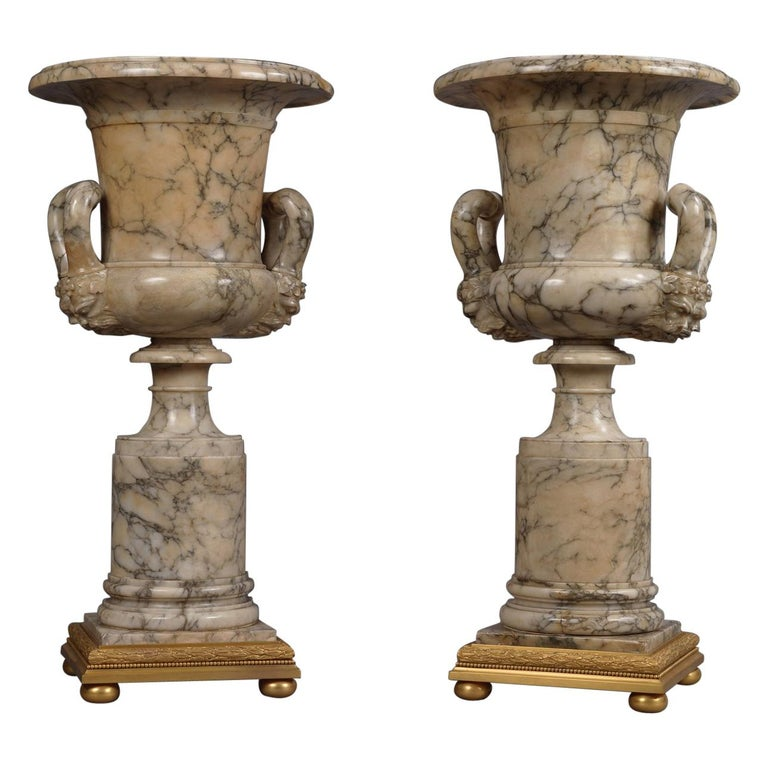 Pair of Neoclassical Style Carved Alabaster Vases, circa 1910 For Sale