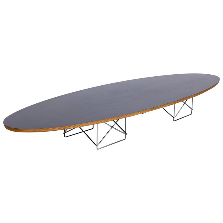 Eames Mid-Century Modern Elliptical Coffee Table Black