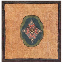 Square Antique American Hooked Rug 70056