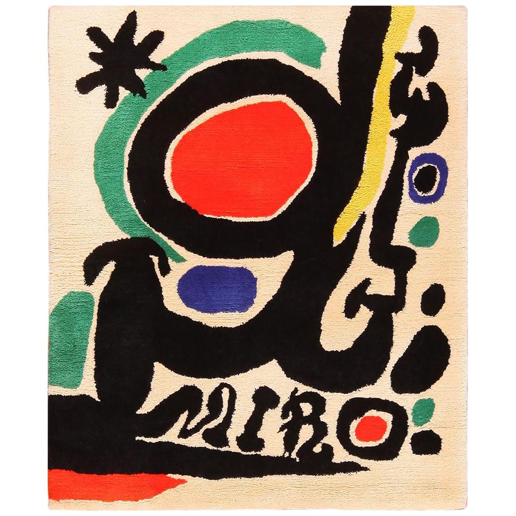 Small Square Vintage Art Rug in the style of Miro. Size: 3 ft 6 in x 4 ft 3 in