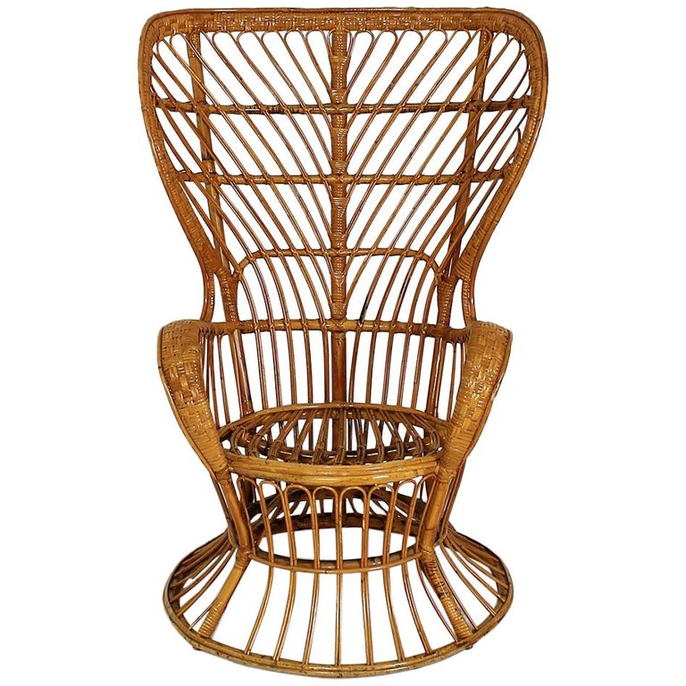 Rattan Wingback Armchair by Lio Carminati for Bonacina, Italy, 1950s For Sale