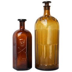 Early 20th Century Set of Large Amber Glass Apothecary Poison Bottles