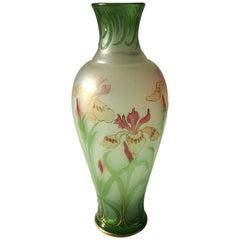 French Signed Art Nouveau Pantin Iris Cameo and Enamel Glass Vase