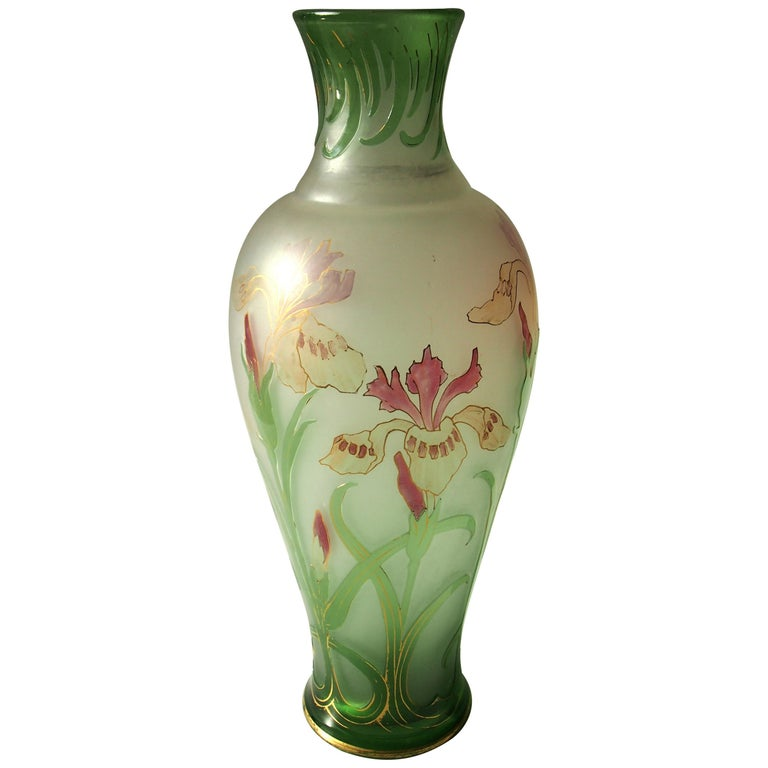 French Signed Art Nouveau Pantin Iris Cameo and Enamel Glass Vase For Sale