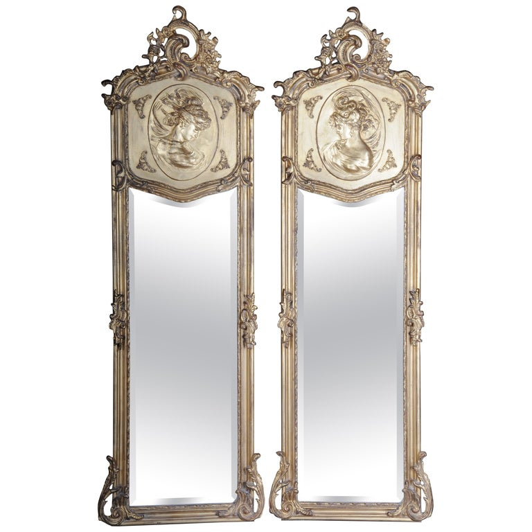 Pair of Mirrors or Wall Mirror in Louis XV / Baroque Style For Sale