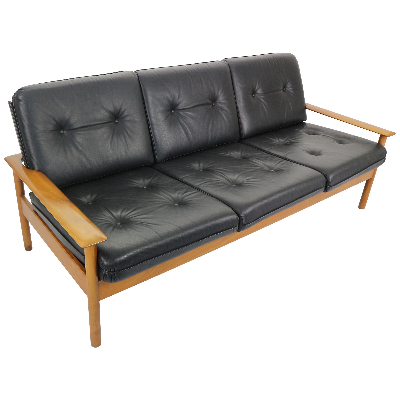 Mid-Century Modern Three-Seat Leather Sofa, Scandinavian Design ...