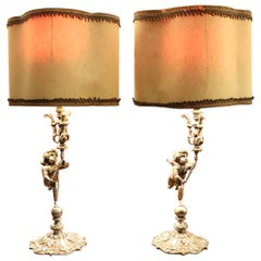 20th Century Italian Art Nouveau Silvered Bronze Pair of Table Lamp