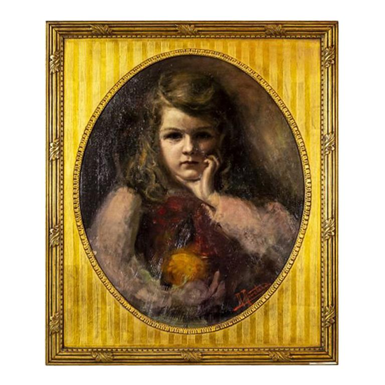 Portrait of a Girl from the Turn of the 19th and 20th Centuries by Rene Revelard For Sale