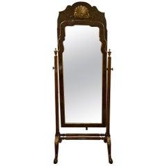 Queen Anne Style Burr Yew, Walnut and Parcel Gilt Cheval Mirror, c1900
