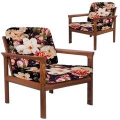 Pair of New Velvet Floral Upholstered Sculptural Easy Chairs by Sven Ellekaer