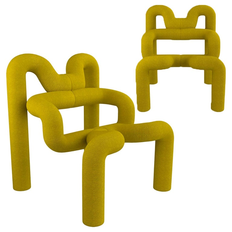 Pair of Iconic Yello Lounge Chairs by Terje Ekstrom, Norway, 1980s For Sale