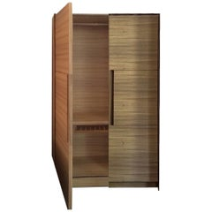 Italian Modern Cecchini AB2 Zebra Wood Wardrobe Armoir Minimal Cabinet Dresser
