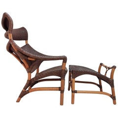 Contemporary Rattan Armchair with Footrest