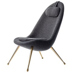 Pause Lounge Chair with Polished Brass Legs and Boiled Wool