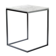 """Esopo"" Modern Handmade Iron Side Table with White Carrara Marble Square Plan"