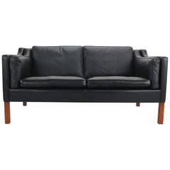 Two-Seat Black Leather Sofa Designed by Børge Mogensen for Fredericia A/S, 1960