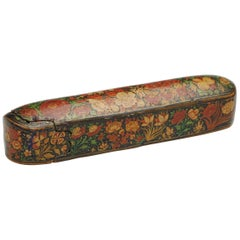 Persian Scribes Pen Case with Painted Decoration
