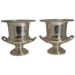 Pair of Antique English Silver Plated Wine or Champagne Coolers, circa 1910-1920