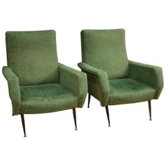 20th Century Green Fabric and Metal Pair of Italian Design Armchairs, 1960